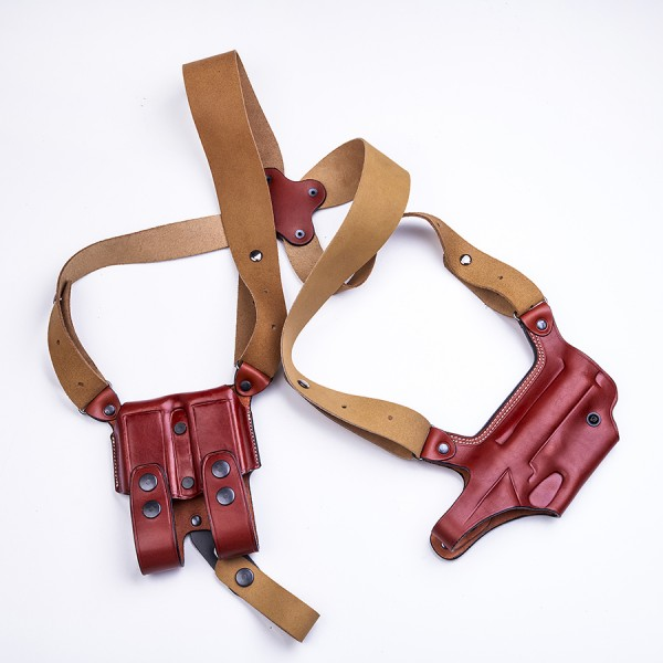 """DM Executive"" Series - Vertical Shoulder Holster W/ Double Magazine Pouch"